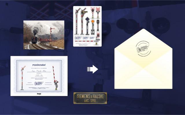 Poděkování předsedy spolku v listinné podobě + pohlednice + samolepky + magnetka