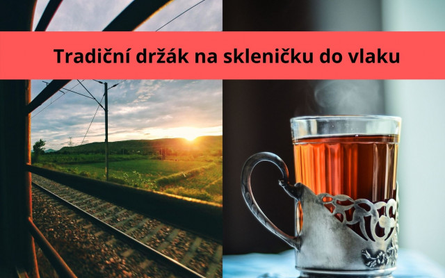 Klasický sovětský držák se skleničkou na čaj do vlaku