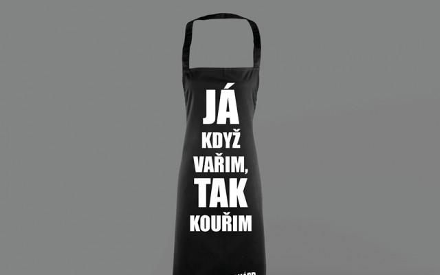 """Kuchařská zástěra""""JÁ KDYŽ VAŘIM, TAK KOUŘIM!"""""""