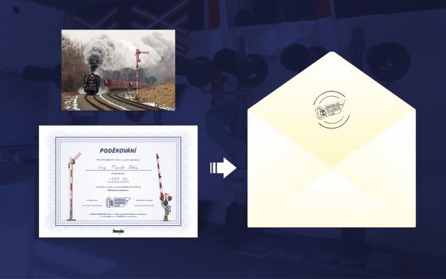 Poděkování předsedy spolku v listinné podobě + pohlednice