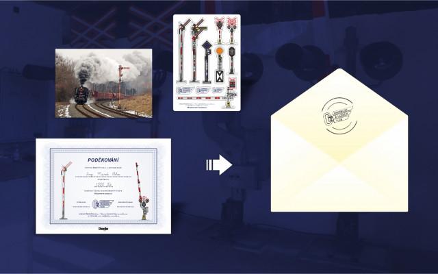 Poděkování předsedy spolku v listinné podobě + pohlednice + samolepky