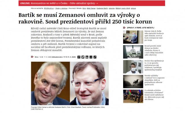 Pokrytí nákladů a finanční satisfakce v civilním sporu prezidenta Zemana se Svatoplukem Bartíkem