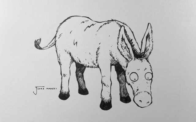 Kniha Verše potrhlé s podpisem autorů a originálem obrázku osla
