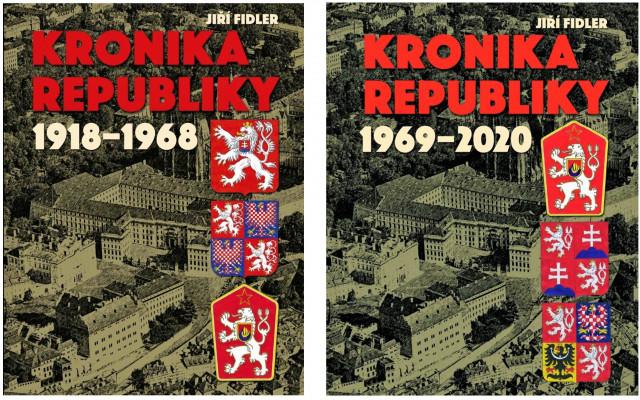 Dva díly výpravné knihy Kronika republiky 1918-1968 a 1969-2020 od Jiřího Fidlera