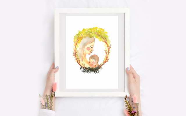 Tisk ilustrace Mateřství s věnováním a podpisem Ivy Frühlingové