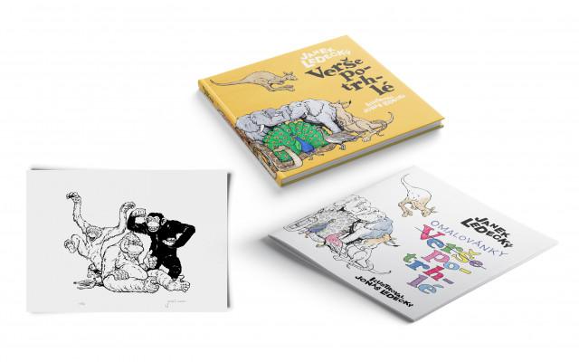 Kniha Verše potrhlé s podpisem autorů, omalovánkami a grafickým listem A4