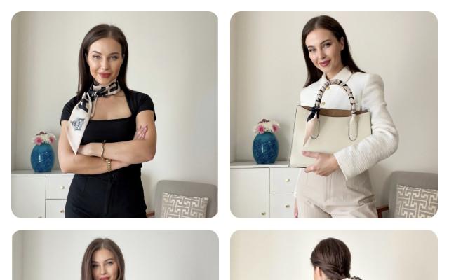 Šátek na kabelku s motivem Dobešky od současné módní návrhářky Evy Vontorové
