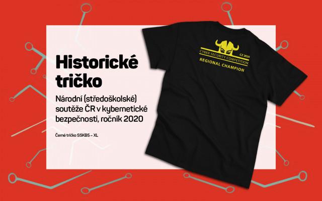 Tričko Národní (středoškolské) soutěže ČR vkybernetické bezpečnosti ročník 2020. Velikost XL