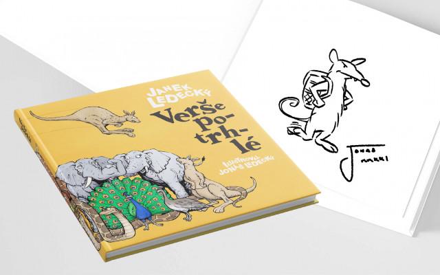 Kniha Verše potrhlé s podpisem autorů a originál ex libris ilustrace potrhlého zvířátka