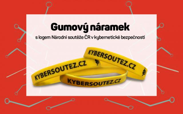 Gumový náramek s logem Národní soutěže ČR v kybernetické bezpečnosti
